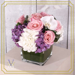 pink roses with white and purple hydrangea