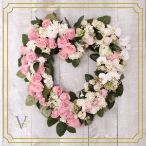 Tribute heart in pink and whites