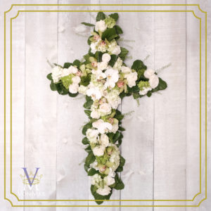 Tribute Cross in white and greens