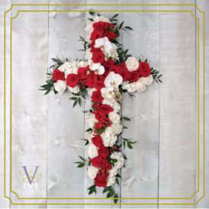 Bereavement Cross in red and white.