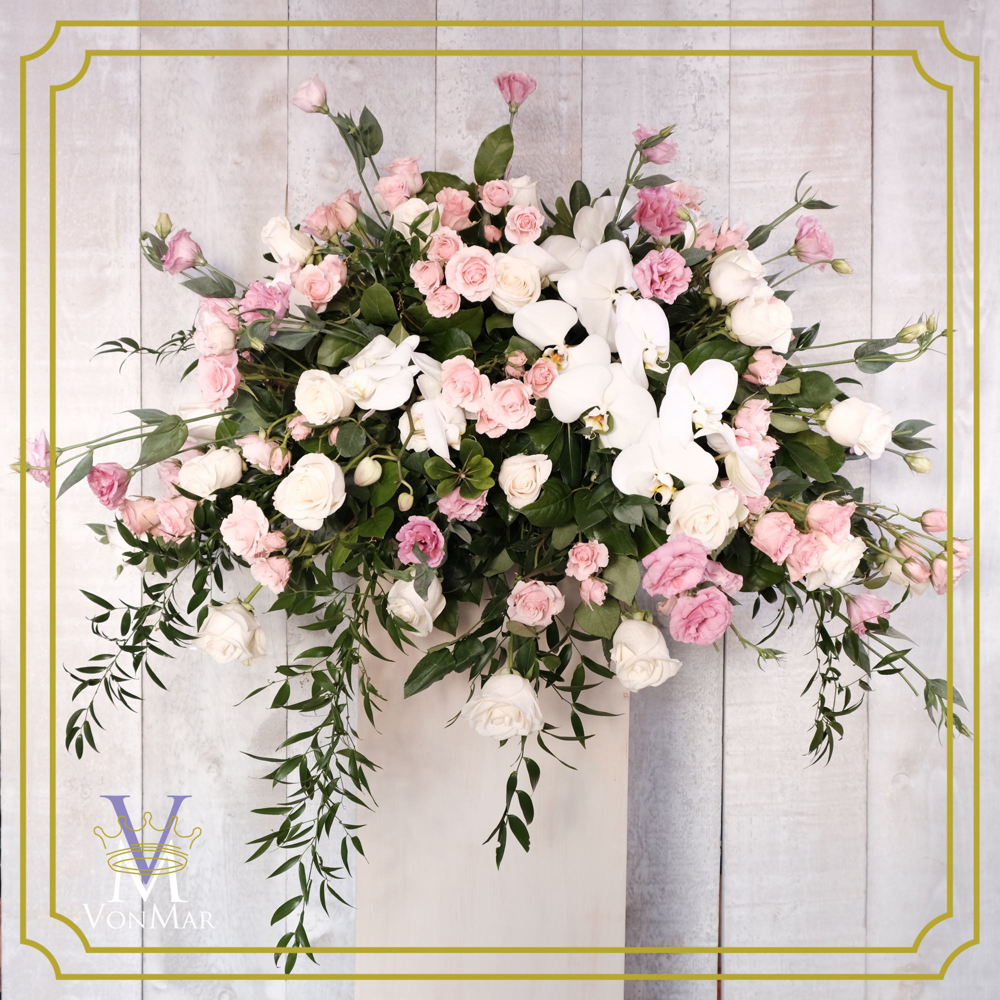 Casket Spray in Pink and White