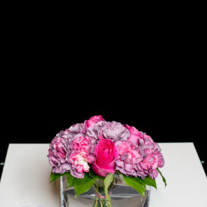 Carnation and rose posy with vase