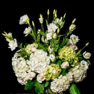Green and white Signature Bouquet with vase