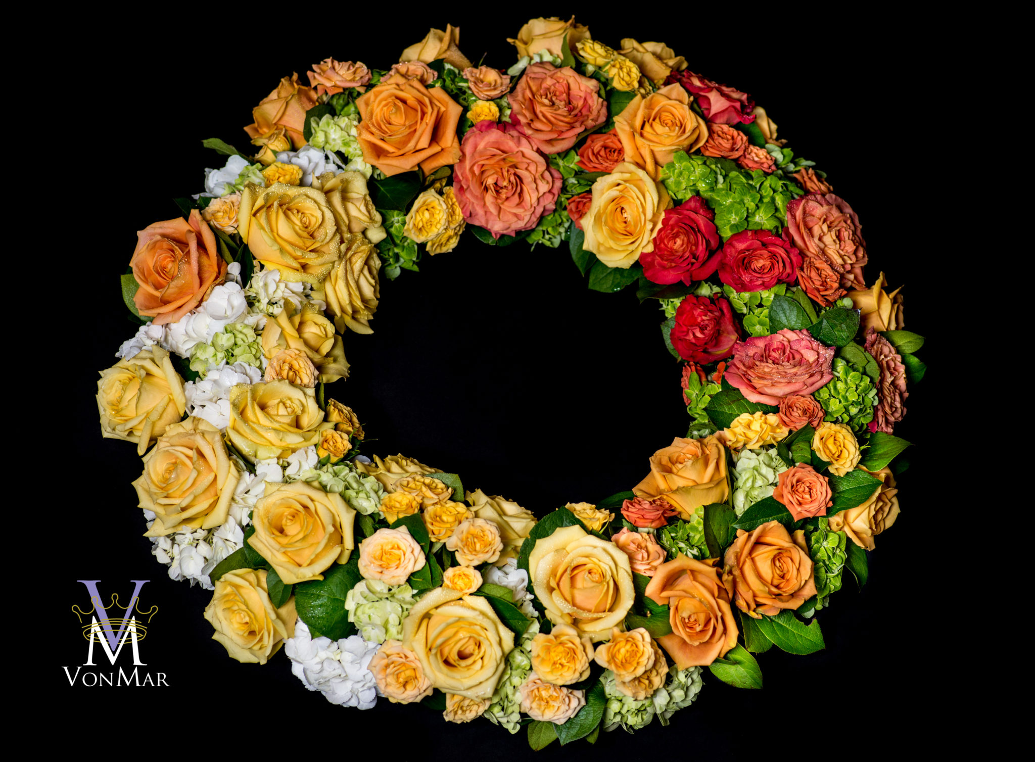 Yellow and Orange Rose Tribute Wreath