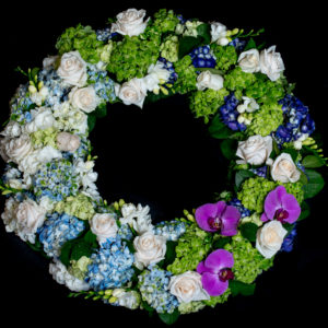 Floral Wreath white, green, purple and blue