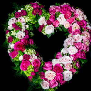 Pink Rose and Hydrangea Tribute wreath