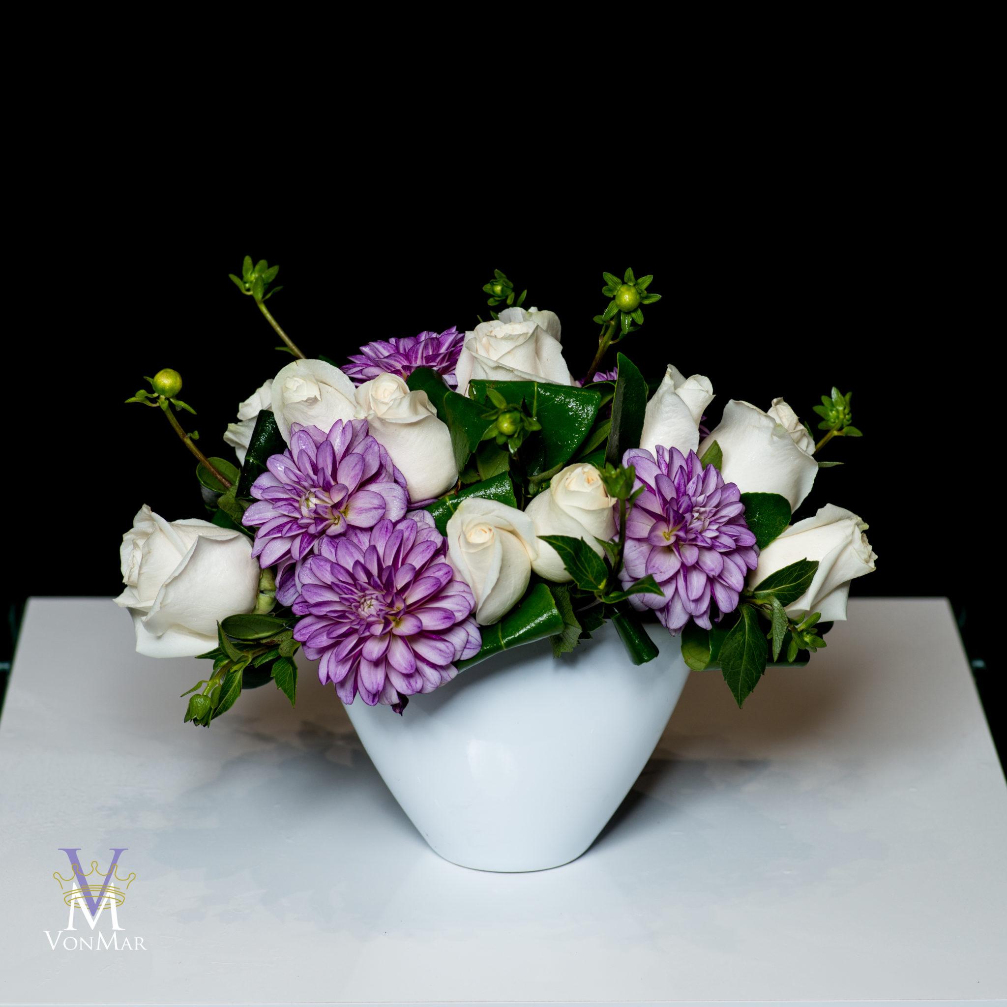 White Roses and Dahlias