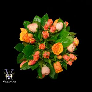 Orange Bouquet with Roses, Ranunculus and tulips